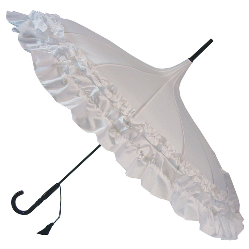GiGi Pagoda Frilly Umbrella - Double Frill - White