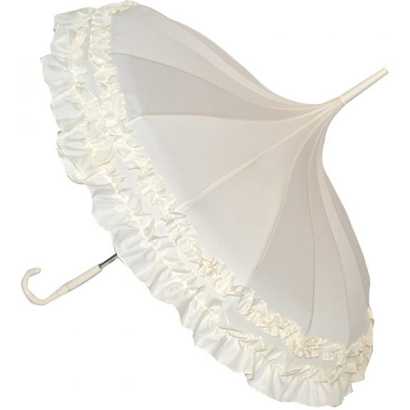 cream wedding umbrella