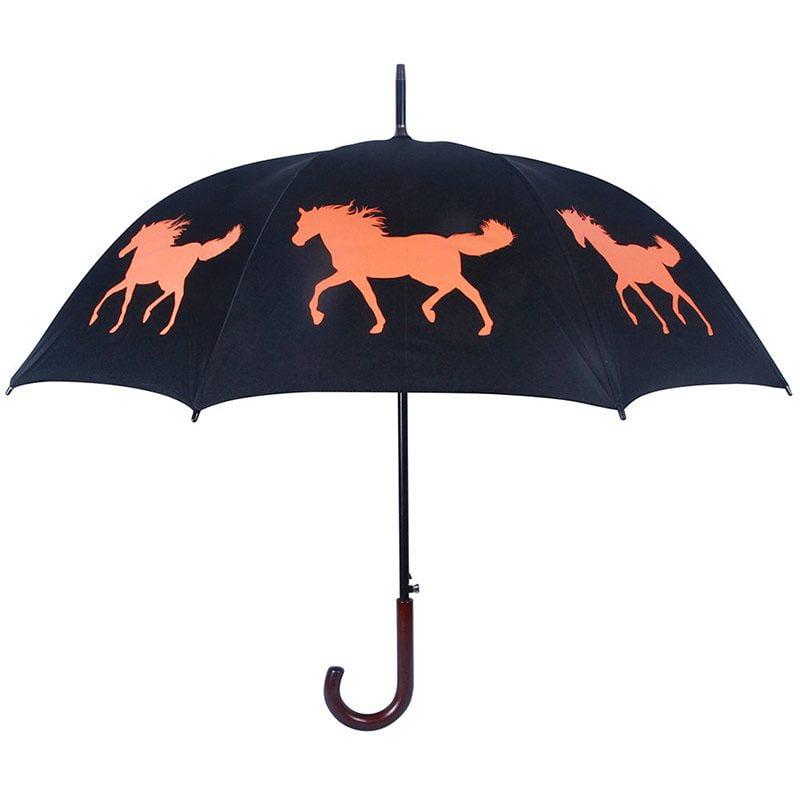 Horse Print Umbrella - Black & Orange