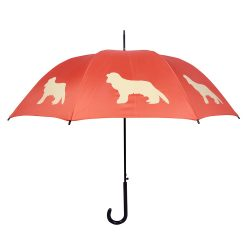King Charles Dog Print Umbrella - Orange & Beige