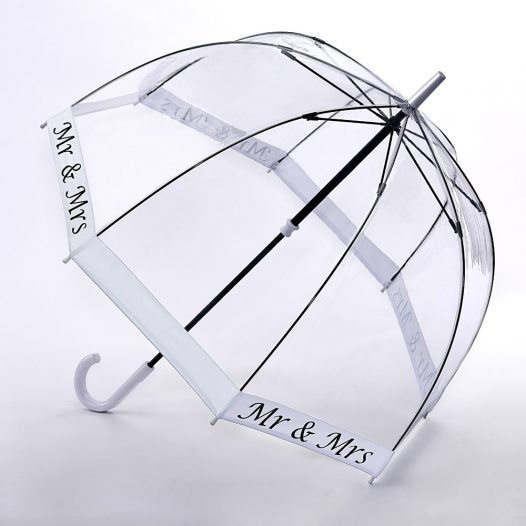 Fulton Birdcage Clear Wedding Umbrella - Mr & Mrs