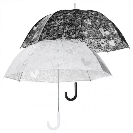 Clear Dome Floral Lace Print Umbrella