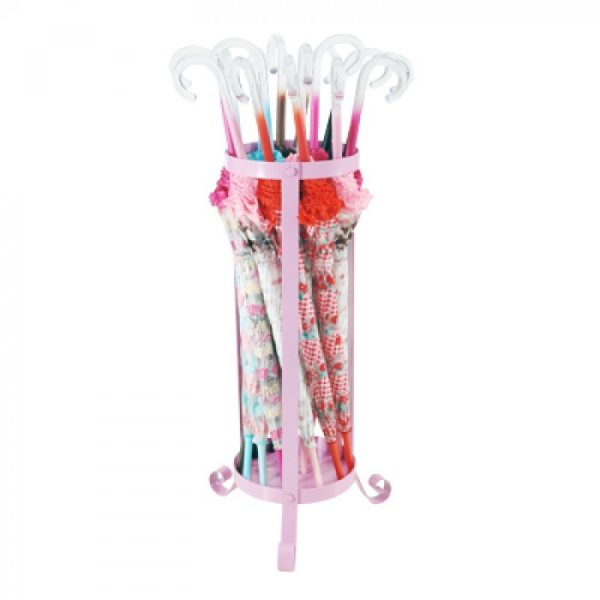 metal umbrella stand pink in use