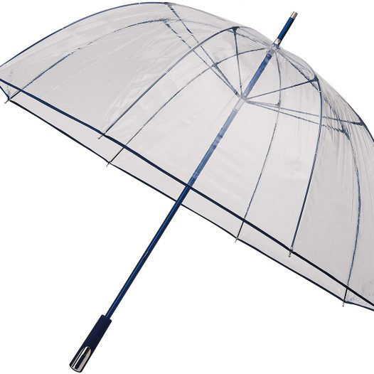 See Through Deluxe Clear Dome Umbrella - Navy Blue (Golf Sized Dome)