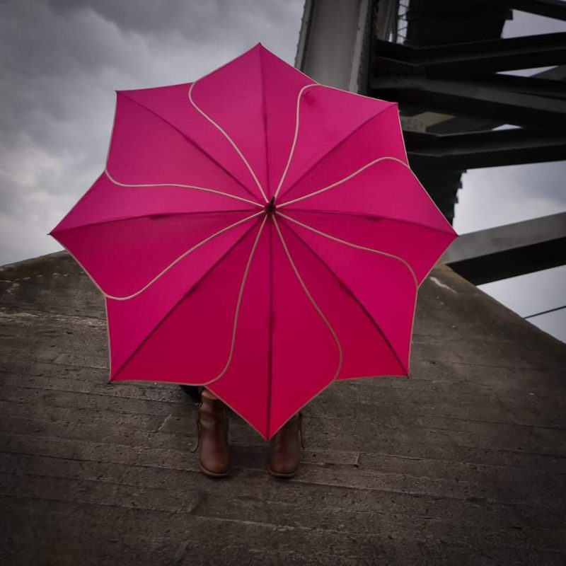 Pink Petal Flower Umbrella modelled