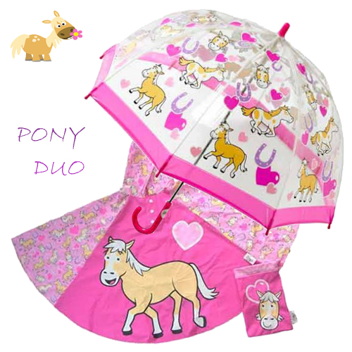 pony Duo Umbrella Poncho kids raincoats