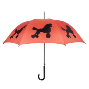 Poodle Dog Print Umbrella - Orange and Black
