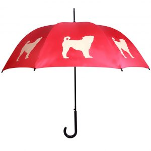 Pug Umbrella - Red & Beige