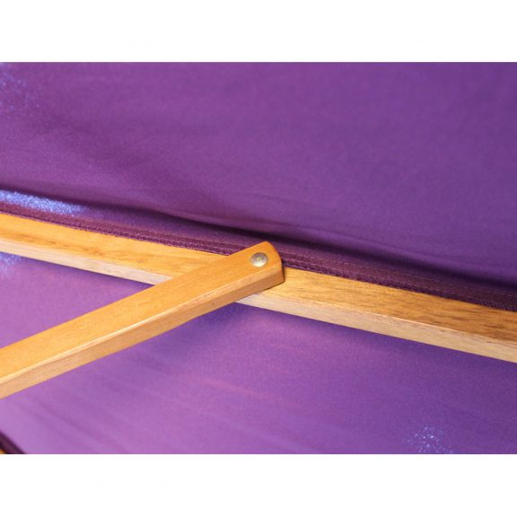 wood pulley parasol purple close up