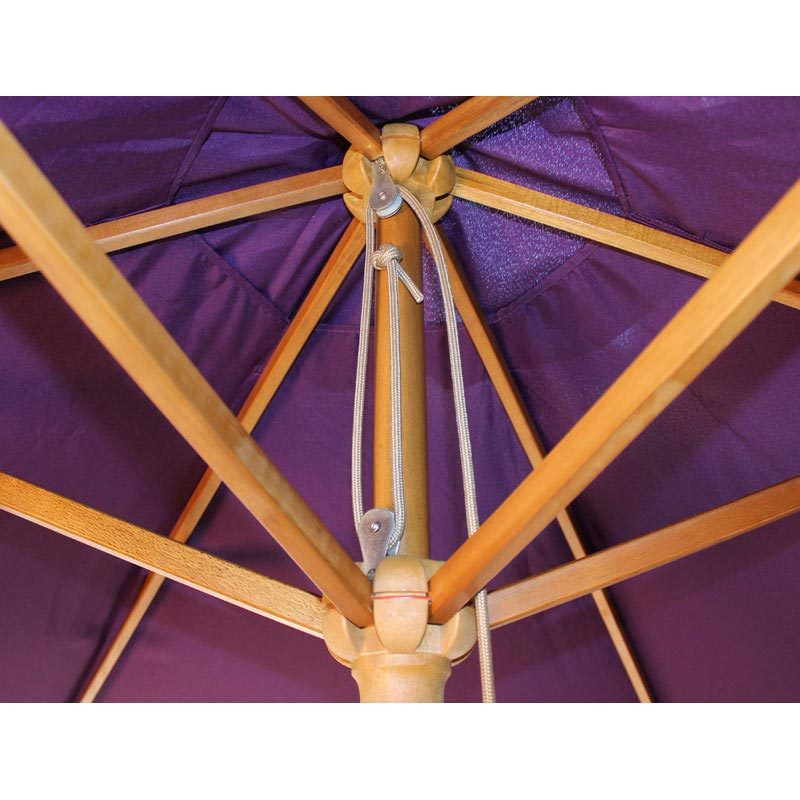 wood pulley parasol purple open close up