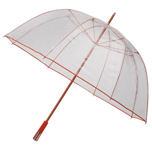 red clear dome umbrella