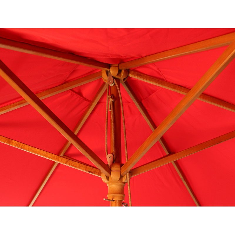 wood pulley parasol close up red