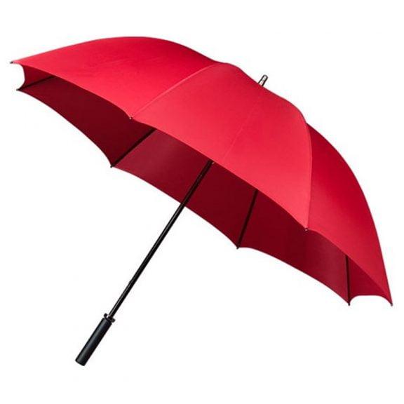 red golf umbrella