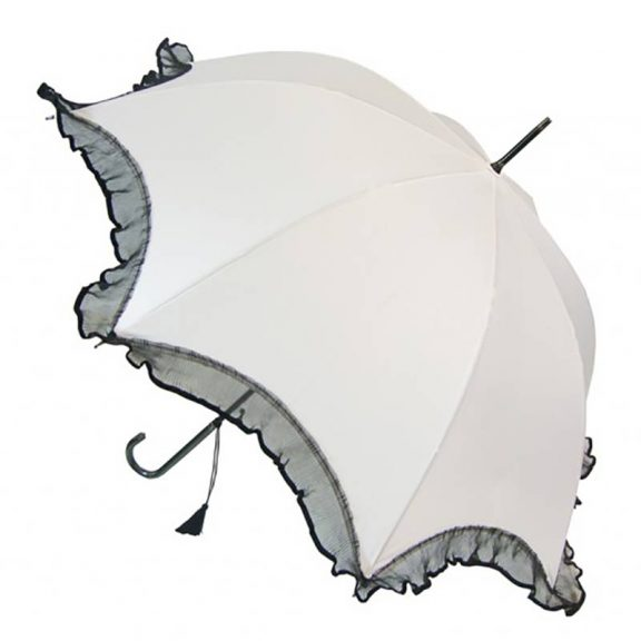 Scalloped Umbrella - White with Black Lace Trim