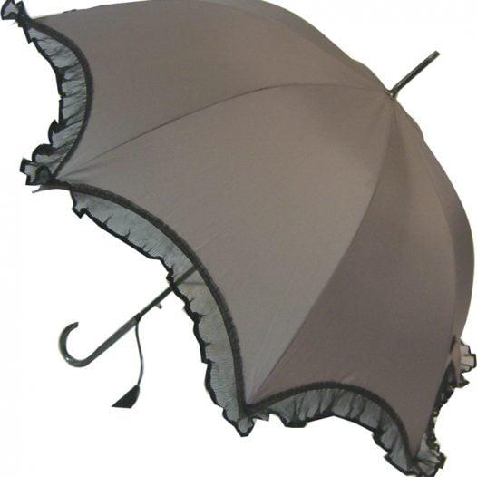 Scalloped Umbrella - Grey with Black Lace Trim