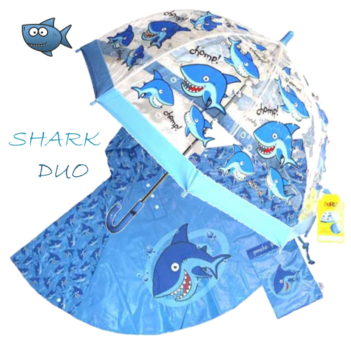 shark Duo Umbrella Poncho kids raincoats