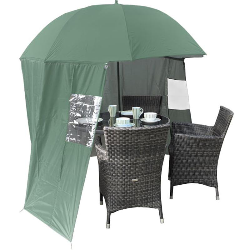 Garden Umbrella SheltaShade w ZipOn Windbreak from Umbrella Heaven