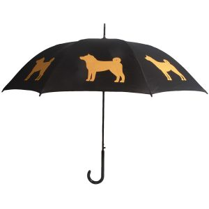 Shiba Dog Print Umbrella - Black & Gold