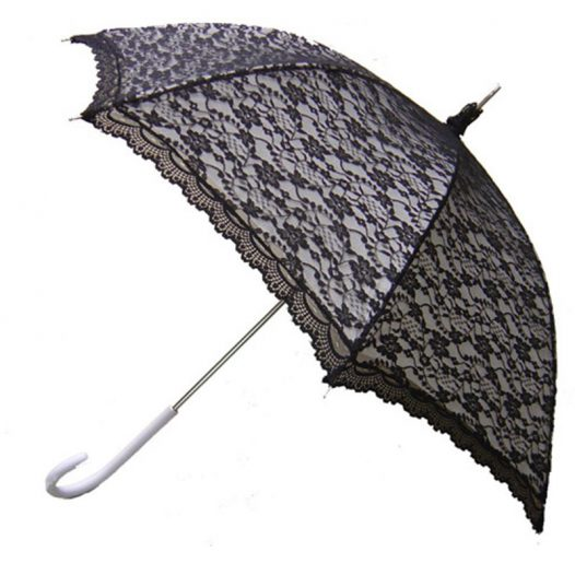 Modern Victorian Lace Umbrella - Black & White