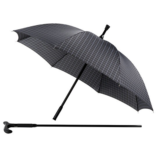 walking stick checked umbrella open