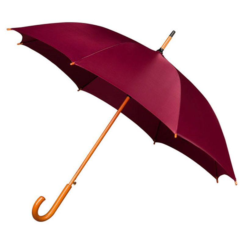 Wood Stick maroon umbrella