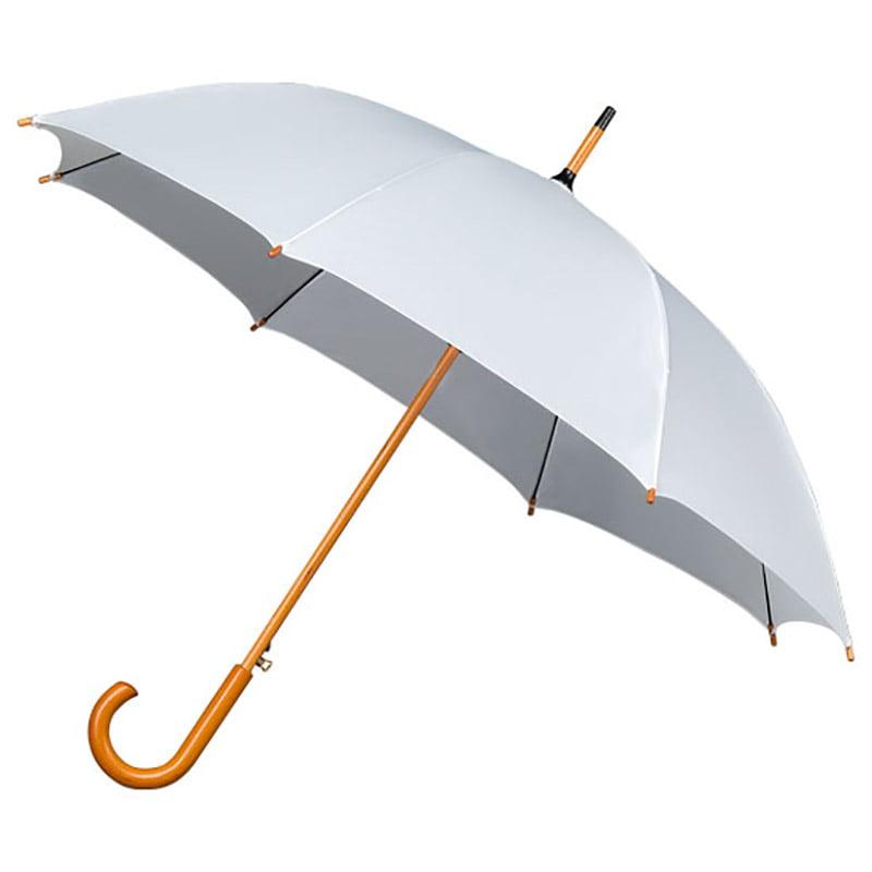 Crook Handle Wood Stick White Wedding Umbrella