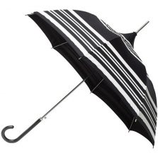 white / black striped umbrella pagoda