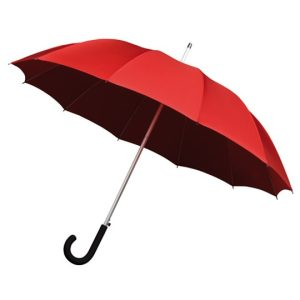 red walking umbrella