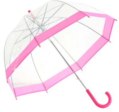 Clear Dome Umbrella Pink Trim