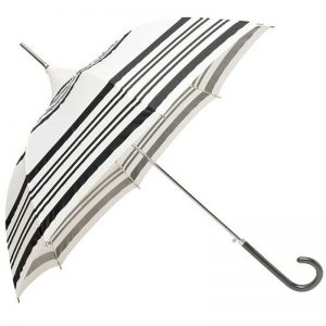 cream black striple pagoda umbrella