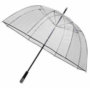 See Through Deluxe Umbrella - Black (Golf Sized)