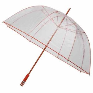 See Through Deluxe Umbrella - Orange (Golf Sized)