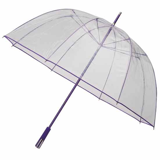 See Through Deluxe plastic Umbrella - Purple (Golf Sized)