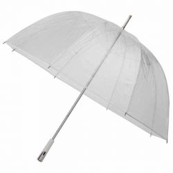 See Through Deluxe Clear Umbrella - White (Golf Sized)