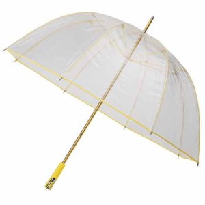 See Through Deluxe Umbrella - Yellow (Golf Sized)