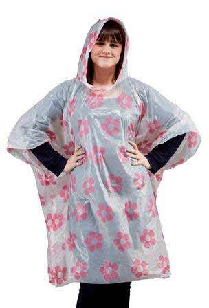 Emergency Rain Poncho Pink Flowers