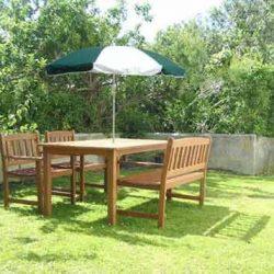 Garden Parasol - Forest Green & White outdoor umbrella