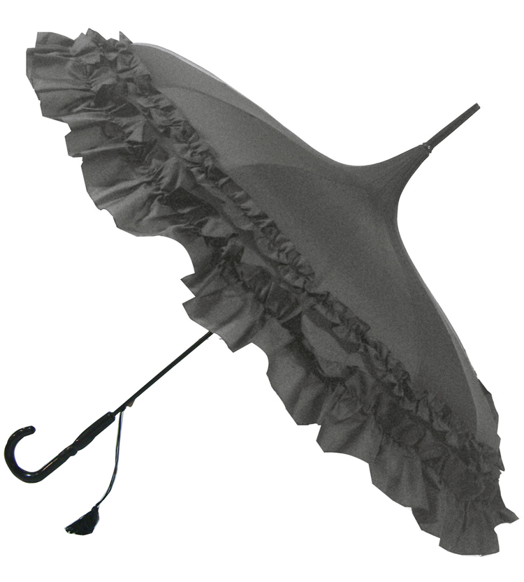 GiGi Pagoda Grey Frilled Umbrella, Double Frill