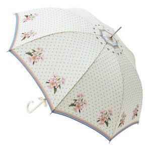 cream floral umbrella open