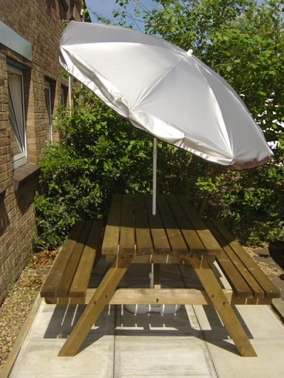 silver uv parasol in use 2