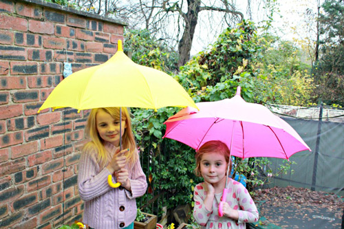 kids with umbrella
