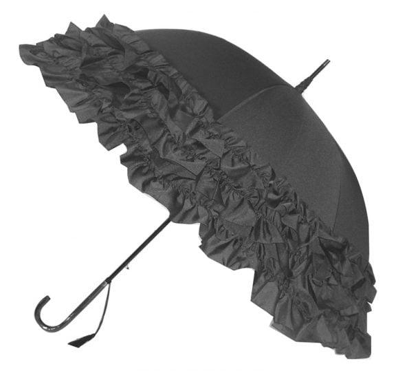 LuLu Frilly Grey Ruffle Umbrella / Parasol