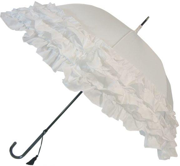 LuLu Frilly White Umbrella Parasol