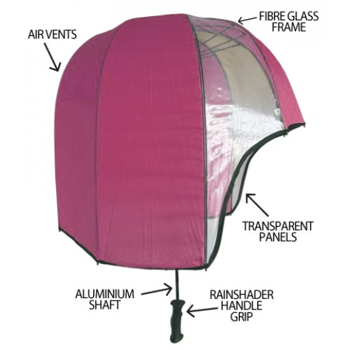 Helmet Shaped Umbrella Panoramic - Pink/ Clear, Helmet Umbrella