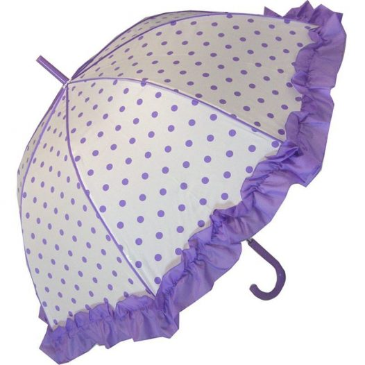 Lilac Frilled polka dot umbrella