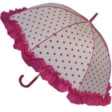 frilled polka dot umbrella pink
