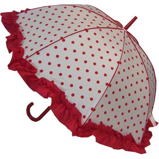 frilled polka dot umbrella red
