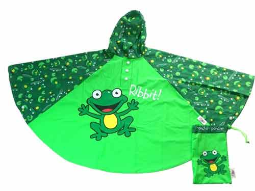 Children's Rain Poncho - Frogs