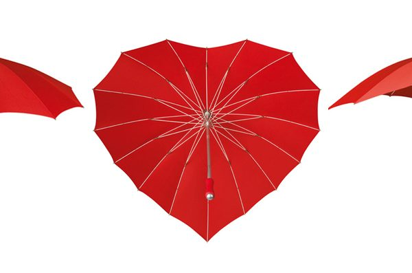 heart umbrella red