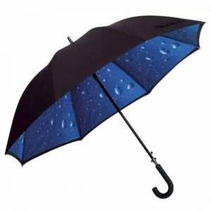 Black Double Canopy Umbrella - Raindrops Design